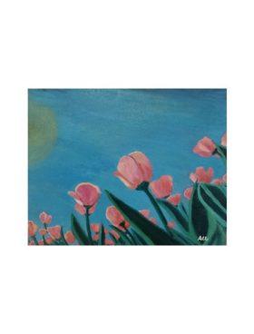Cuadro cielo tulipanes