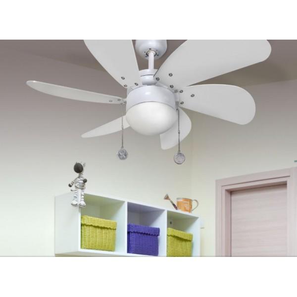 Ventilador techo pequeño blanco con luz