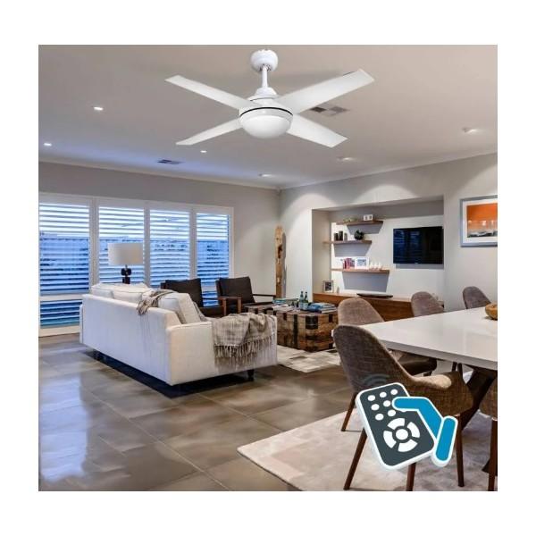 Ventilador techo blanco con luz y temporizador