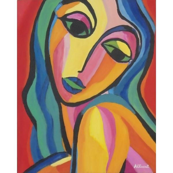 Cuadro cara mujer multicolor