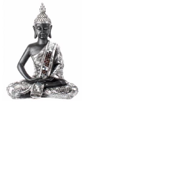 Figura Buda resina plateada