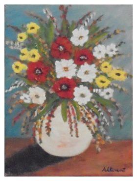 Cuadro jarron flores 25x20