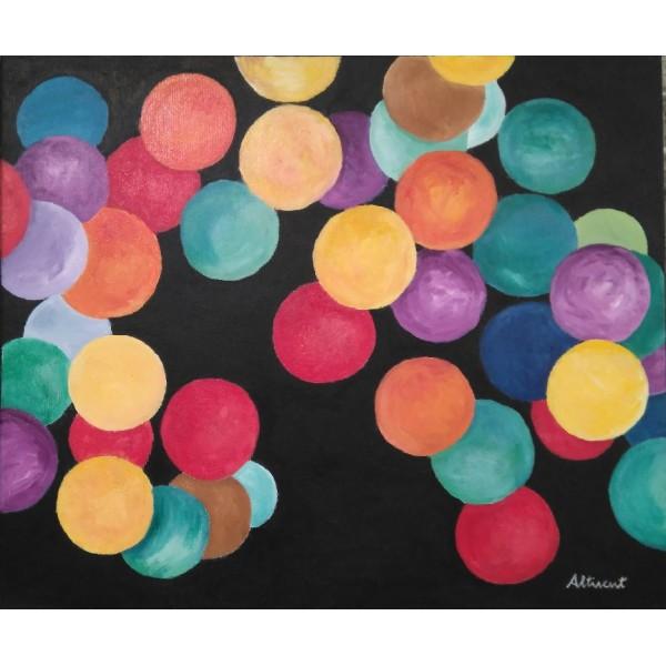 Cuadro bolas de colores 50x60