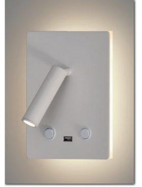 Aplique led luz indirecta 12W, lector 3W