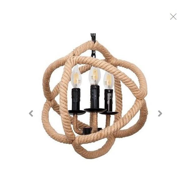 Colgante cuerda 3 luces E27