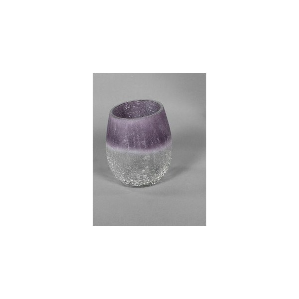 Portavela cristal craquelado lila